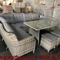 bàn ghế đan nhựa mây sofa