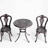 Bộ bàn ghế nhôm đúc sân vườn màu nâu