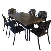 Bộ bàn ghế nhôm đúc chữ nhật 6 ghế màu nâu