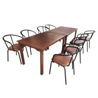 Bộ bàn ghế gỗ dầu gồm 1 bàn 8 ghế