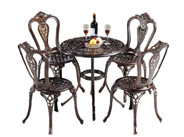 Bộ bàn tròn 4 ghế chất liệu nhôm đúc
