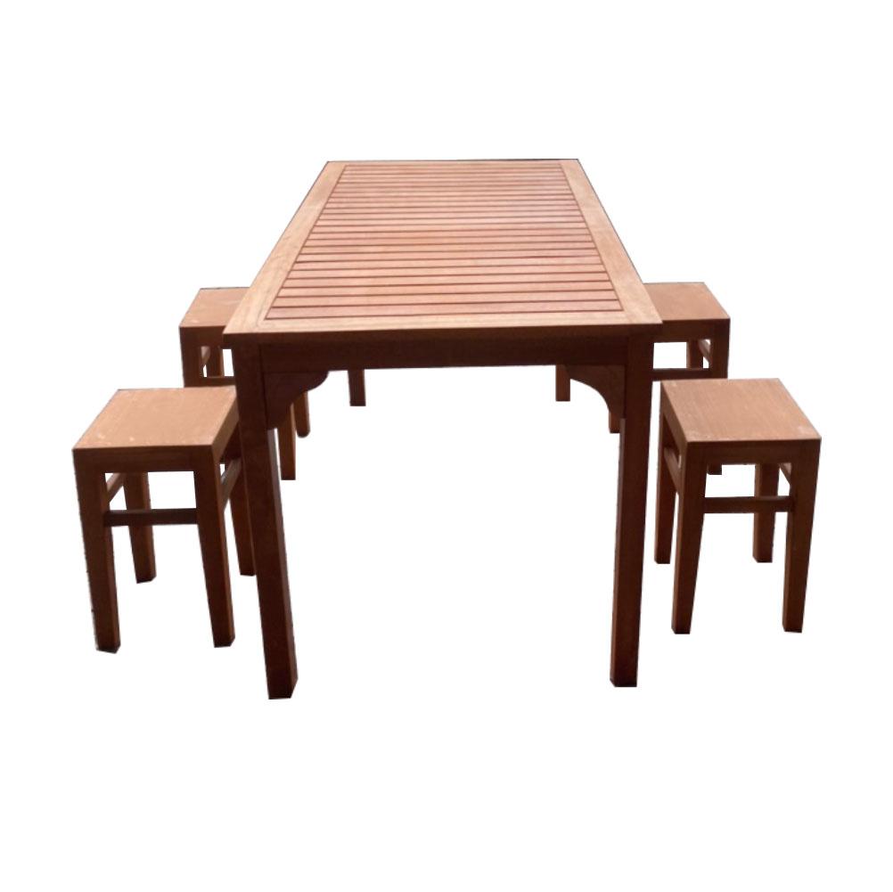 Bàn ghế gỗ 1 bàn 4 ghế không tựa