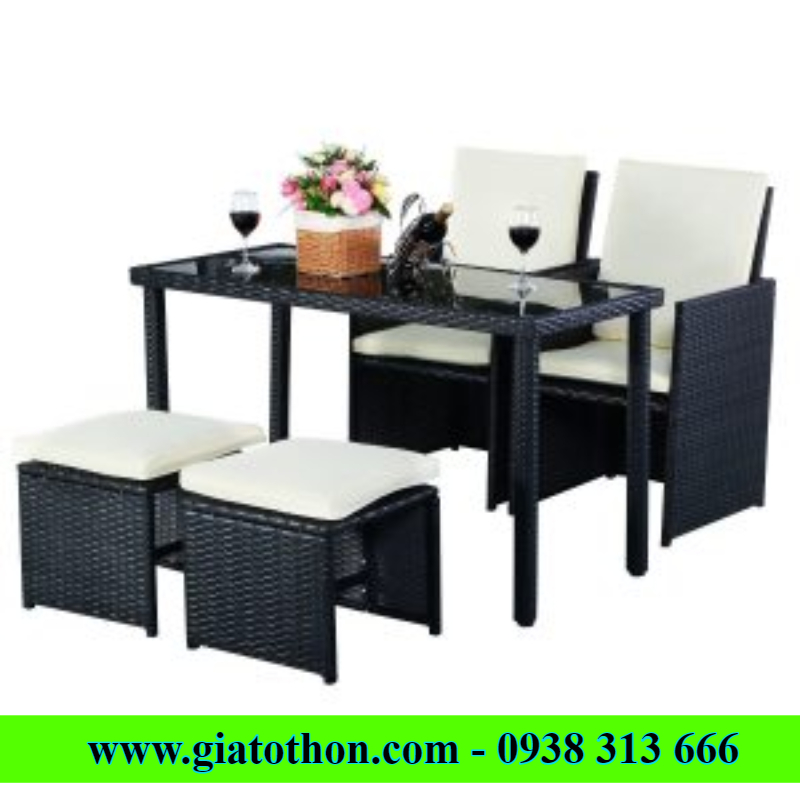Plastic imitation rattan tables and chairs